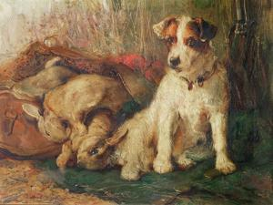 Left in Charge - a Fox Terrier with Game by Philip Eustace Stretton