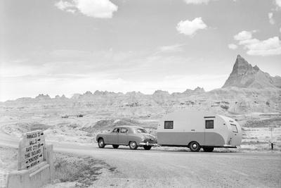 Automobile & Trailer on Badlands Highway