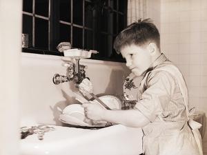 Boy Washing Dishes by Philip Gendreau