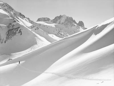 Lone Skier Shadowed by Mont Blanc by Philip Gendreau