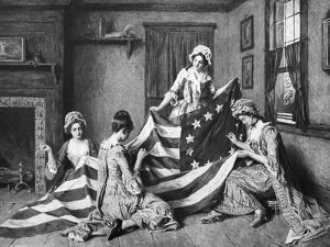 Painting of Betsy Ross with American Flag by Philip Gendreau