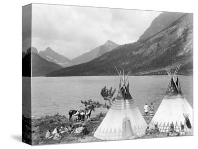 Teepee,Indians on Shore of Lake