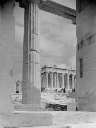 View of Workers at Parthenon Building Site