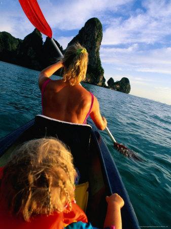 Mother and Daughter Sea Kayaking, Krabi, Thailand