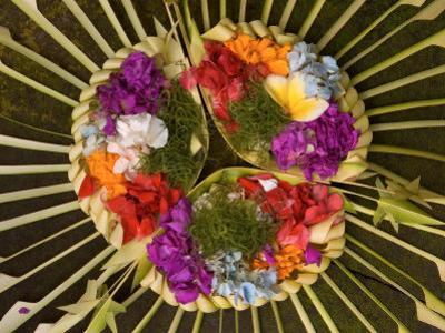 Spiritual Hindu Offerings of Flowers and Palms, Ubud, Bali, Indonesia