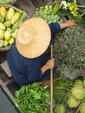 Woman with Straw Hat in Boat, Floating Market, Bangkok, Thailand by Philip Kramer