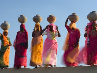 Women Carrying Pottery Jugs of Water, Thar Desert, Jaisalmer, Rajasthan, India