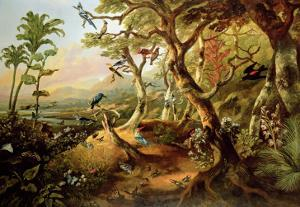 Exotic Birds and Insects Among Trees and Foliage in a Mountainous River Landscape by Philip Reinagle
