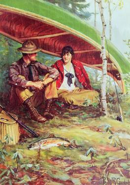 Couple Taking Shelter from the Rain under a Boat by Philip Russell Goodwin