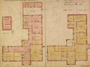Plans for the Red House, Bexley Heath, 1859 (Pen and Ink and W/C on Paper) by Philip Webb