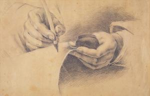 Drawing Hands, 1798 (Black Chalk Heightened with White on Brown Paper) by Philipp Otto Runge