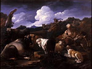 Herdsman with His Flock by Philipp Peter Roos