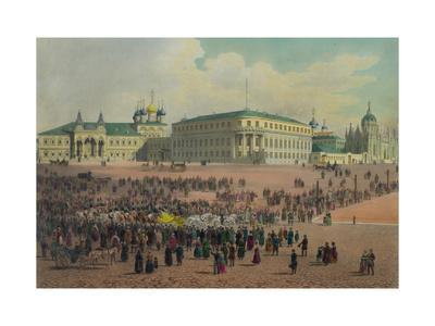 Nicholas Palace in the Moscow Kremlin (From a Panoramic View of Moscow in 10 Part), Ca 1848