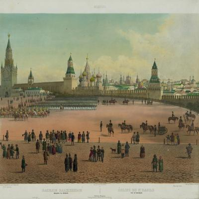 The Basil Cathedral at the Red Square in Moscow, Ca 1848
