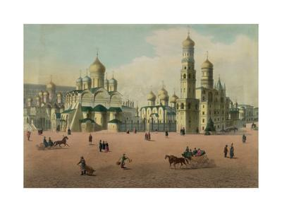 The Cathedral Square in the Moscow Kremlin, Ca 1848