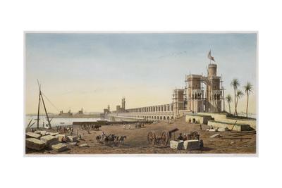 The dam across the Nile, the building of the Aswan Dam, Egypt, 1853