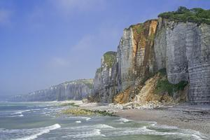 Shingle beach and chalk cliffs, Normandy, France by Philippe Clement