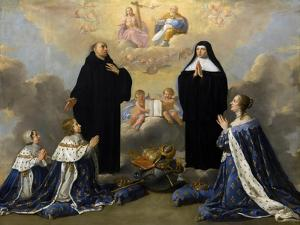 Anna of Austria with Her Children, Praying to the Holy Trinity with Saints Benedict and Scholastica by Philippe De Champaigne