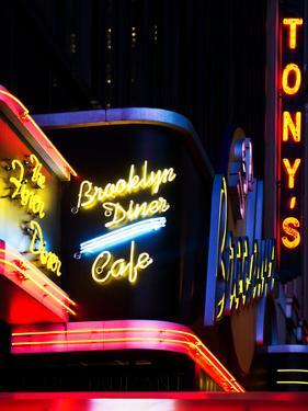 American Brooklyn Diner Cafe at Times Square by Night, Manhattan, New York City, US, USA by Philippe Hugonnard
