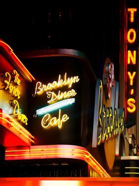 American Brooklyn Diner Cafe at Times Square by Night, Manhattan, NYC, US, USA, Vintage Colors by Philippe Hugonnard