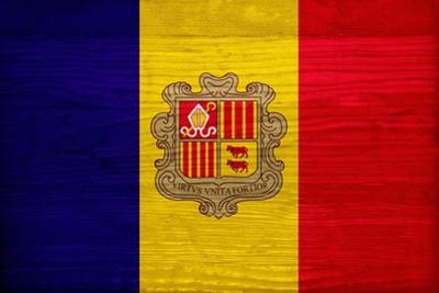 Andorra Flag Design with Wood Patterning - Flags of the World Series