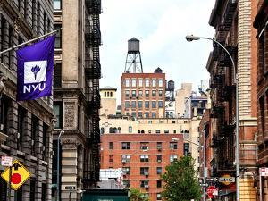 Architecture and Buildings, Greenwich Village, Nyu Flag, Manhattan, New York City, United States by Philippe Hugonnard