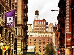 Architecture and Buildings, Greenwich Village, Nyu Flag, Manhattan, New York City, US, Art Colors by Philippe Hugonnard