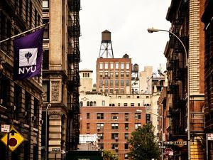 Architecture and Buildings, Greenwich Village, Nyu Flag, Manhattan, New York City, US, Vintage by Philippe Hugonnard