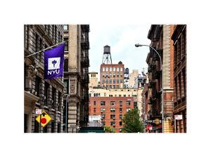 Architecture and Buildings, Greenwich Village, Nyu Flag, Manhattan, NYC, White Frame by Philippe Hugonnard