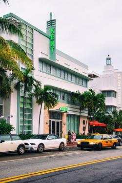 Art Deco Architecture with Yellow Cab - Miami Beach - Florida by Philippe Hugonnard