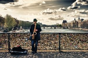 Artist - Pont des Arts - Paris - France by Philippe Hugonnard