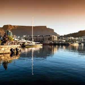 Awesome South Africa Collection Square - Cape Town Harbour and Table Mountain at Sunset II by Philippe Hugonnard