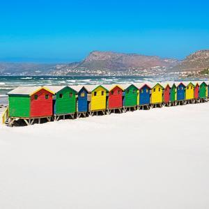 Awesome South Africa Collection Square - Colorful Beach Huts Cape Town by Philippe Hugonnard