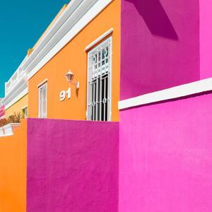 "Awesome South Africa Collection Square - Colorful Houses ""Ninety-One"" Orange & Deep Pink by Philippe Hugonnard"