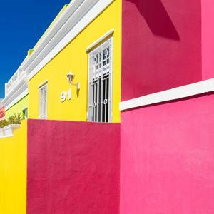 "Awesome South Africa Collection Square - Colorful Houses ""Ninety-One"" Yellow & Deep Pink by Philippe Hugonnard"