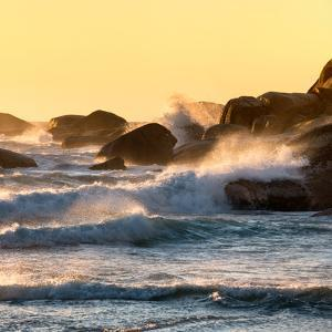 Awesome South Africa Collection Square - Power of the Ocean at Sunset II by Philippe Hugonnard