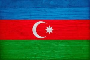 Azerbaijan Flag Design with Wood Patterning - Flags of the World Series by Philippe Hugonnard