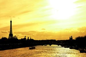 Barge on the River Seine with Views of the Eiffel Tower and Alexandre III Bridge - Paris - France by Philippe Hugonnard