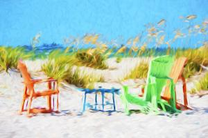 Beach Chairs - In the Style of Oil Painting by Philippe Hugonnard