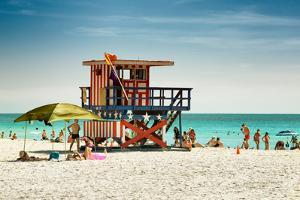 Beach Scene with a Life Guard Station - Miami Beach - Florida by Philippe Hugonnard