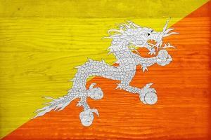 Bhutan Flag Design with Wood Patterning - Flags of the World Series by Philippe Hugonnard