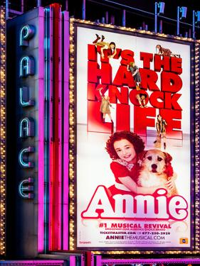 Billboard of Annie The Musical at the Palace Theatre on Broadway and Times Square at Night by Philippe Hugonnard