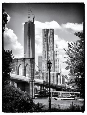 Brooklyn Bridge View with One World Trade Center, Black and White Photography, Manhattan, NYC, US by Philippe Hugonnard