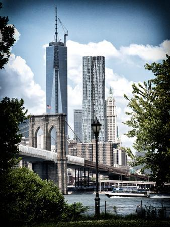 Brooklyn Bridge View with One World Trade Center, Vintique Colors, Manhattan, New York City, US by Philippe Hugonnard