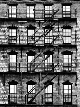 Building Facade in Red Brick, Stairway on Philadelphia Building, Pennsylvania, US by Philippe Hugonnard
