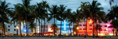 Buildings Lit Up at Dusk - Ocean Drive - Miami Beach by Philippe Hugonnard