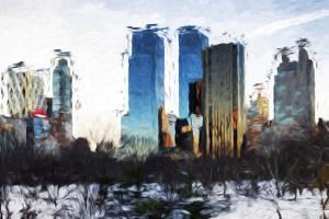 Central Park Buildings II - In the Style of Oil Painting by Philippe Hugonnard