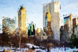 Central Park Buildings - In the Style of Oil Painting by Philippe Hugonnard