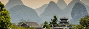China 10MKm2 Collection - Chinese Buddhist Temple with Karst Mountains at Sunset by Philippe Hugonnard
