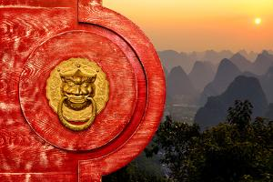 China 10MKm2 Collection - The Door God - Yangshuo Sunset by Philippe Hugonnard